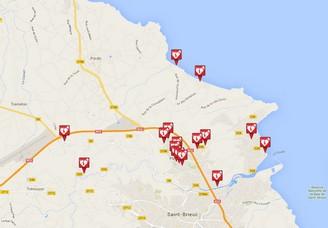Carte des défibrillateurs